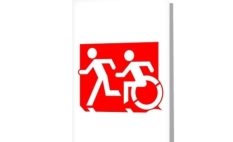 Accessible Exit Sign Project Wheelchair Wheelie Running Man Symbol Means of Egress Icon Disability Emergency Evacuation Fire Safety Greeting Card 125