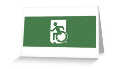 Accessible Exit Sign Project Wheelchair Wheelie Running Man Symbol Means of Egress Icon Disability Emergency Evacuation Fire Safety Greeting Card 12