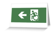 Accessible Exit Sign Project Wheelchair Wheelie Running Man Symbol Means of Egress Icon Disability Emergency Evacuation Fire Safety Greeting Card 17