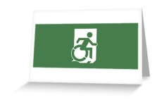 Accessible Exit Sign Project Wheelchair Wheelie Running Man Symbol Means of Egress Icon Disability Emergency Evacuation Fire Safety Greeting Card 19