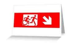 Accessible Exit Sign Project Wheelchair Wheelie Running Man Symbol Means of Egress Icon Disability Emergency Evacuation Fire Safety Greeting Card 21