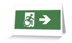 Accessible Exit Sign Project Wheelchair Wheelie Running Man Symbol Means of Egress Icon Disability Emergency Evacuation Fire Safety Greeting Card 23
