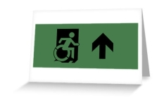 Accessible Exit Sign Project Wheelchair Wheelie Running Man Symbol Means of Egress Icon Disability Emergency Evacuation Fire Safety Greeting Card 24