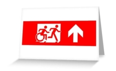 Accessible Exit Sign Project Wheelchair Wheelie Running Man Symbol Means of Egress Icon Disability Emergency Evacuation Fire Safety Greeting Card 25