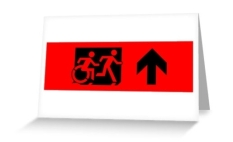 Accessible Exit Sign Project Wheelchair Wheelie Running Man Symbol Means of Egress Icon Disability Emergency Evacuation Fire Safety Greeting Card 26