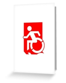 Accessible Exit Sign Project Wheelchair Wheelie Running Man Symbol Means of Egress Icon Disability Emergency Evacuation Fire Safety Greeting Card 28