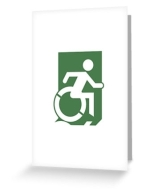 Accessible Exit Sign Project Wheelchair Wheelie Running Man Symbol Means of Egress Icon Disability Emergency Evacuation Fire Safety Greeting Card 29