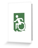 Accessible Exit Sign Project Wheelchair Wheelie Running Man Symbol Means of Egress Icon Disability Emergency Evacuation Fire Safety Greeting Card 30