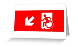 Accessible Exit Sign Project Wheelchair Wheelie Running Man Symbol Means of Egress Icon Disability Emergency Evacuation Fire Safety Greeting Card 3