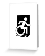 Accessible Exit Sign Project Wheelchair Wheelie Running Man Symbol Means of Egress Icon Disability Emergency Evacuation Fire Safety Greeting Card 31