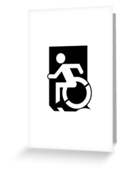 Accessible Exit Sign Project Wheelchair Wheelie Running Man Symbol Means of Egress Icon Disability Emergency Evacuation Fire Safety Greeting Card 32