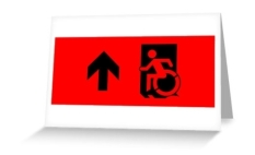 Accessible Exit Sign Project Wheelchair Wheelie Running Man Symbol Means of Egress Icon Disability Emergency Evacuation Fire Safety Greeting Card 36