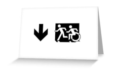 Accessible Exit Sign Project Wheelchair Wheelie Running Man Symbol Means of Egress Icon Disability Emergency Evacuation Fire Safety Greeting Card 39