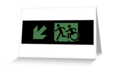 Accessible Exit Sign Project Wheelchair Wheelie Running Man Symbol Means of Egress Icon Disability Emergency Evacuation Fire Safety Greeting Card 44