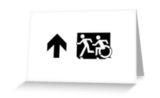 Accessible Exit Sign Project Wheelchair Wheelie Running Man Symbol Means of Egress Icon Disability Emergency Evacuation Fire Safety Greeting Card 45