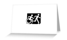 Accessible Exit Sign Project Wheelchair Wheelie Running Man Symbol Means of Egress Icon Disability Emergency Evacuation Fire Safety Greeting Card 46