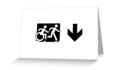 Accessible Exit Sign Project Wheelchair Wheelie Running Man Symbol Means of Egress Icon Disability Emergency Evacuation Fire Safety Greeting Card 47