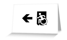 Accessible Exit Sign Project Wheelchair Wheelie Running Man Symbol Means of Egress Icon Disability Emergency Evacuation Fire Safety Greeting Card 48