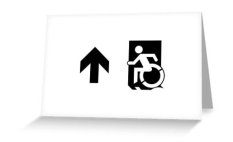 Accessible Exit Sign Project Wheelchair Wheelie Running Man Symbol Means of Egress Icon Disability Emergency Evacuation Fire Safety Greeting Card 50