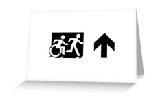 Accessible Exit Sign Project Wheelchair Wheelie Running Man Symbol Means of Egress Icon Disability Emergency Evacuation Fire Safety Greeting Card 51