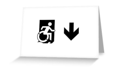 Accessible Exit Sign Project Wheelchair Wheelie Running Man Symbol Means of Egress Icon Disability Emergency Evacuation Fire Safety Greeting Card 52