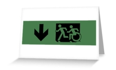Accessible Exit Sign Project Wheelchair Wheelie Running Man Symbol Means of Egress Icon Disability Emergency Evacuation Fire Safety Greeting Card 53