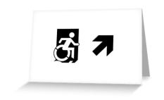 Accessible Exit Sign Project Wheelchair Wheelie Running Man Symbol Means of Egress Icon Disability Emergency Evacuation Fire Safety Greeting Card 54