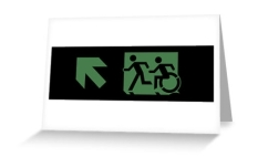 Accessible Exit Sign Project Wheelchair Wheelie Running Man Symbol Means of Egress Icon Disability Emergency Evacuation Fire Safety Greeting Card 55