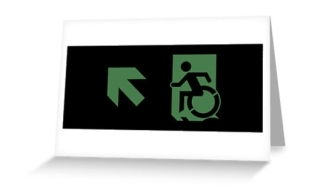 Accessible Exit Sign Project Wheelchair Wheelie Running Man Symbol Means of Egress Icon Disability Emergency Evacuation Fire Safety Greeting Card 62