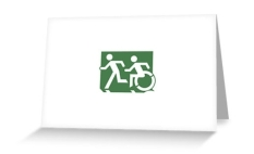 Accessible Exit Sign Project Wheelchair Wheelie Running Man Symbol Means of Egress Icon Disability Emergency Evacuation Fire Safety Greeting Card 65