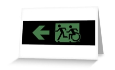 Accessible Exit Sign Project Wheelchair Wheelie Running Man Symbol Means of Egress Icon Disability Emergency Evacuation Fire Safety Greeting Card 66