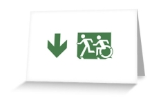 Accessible Exit Sign Project Wheelchair Wheelie Running Man Symbol Means of Egress Icon Disability Emergency Evacuation Fire Safety Greeting Card 67