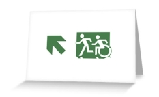 Accessible Exit Sign Project Wheelchair Wheelie Running Man Symbol Means of Egress Icon Disability Emergency Evacuation Fire Safety Greeting Card 69