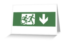 Accessible Exit Sign Project Wheelchair Wheelie Running Man Symbol Means of Egress Icon Disability Emergency Evacuation Fire Safety Greeting Card 7