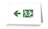 Accessible Exit Sign Project Wheelchair Wheelie Running Man Symbol Means of Egress Icon Disability Emergency Evacuation Fire Safety Greeting Card 70