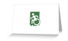 Accessible Exit Sign Project Wheelchair Wheelie Running Man Symbol Means of Egress Icon Disability Emergency Evacuation Fire Safety Greeting Card 71