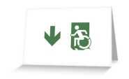 Accessible Exit Sign Project Wheelchair Wheelie Running Man Symbol Means of Egress Icon Disability Emergency Evacuation Fire Safety Greeting Card 73