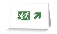 Accessible Exit Sign Project Wheelchair Wheelie Running Man Symbol Means of Egress Icon Disability Emergency Evacuation Fire Safety Greeting Card 74
