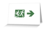 Accessible Exit Sign Project Wheelchair Wheelie Running Man Symbol Means of Egress Icon Disability Emergency Evacuation Fire Safety Greeting Card 75