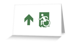 Accessible Exit Sign Project Wheelchair Wheelie Running Man Symbol Means of Egress Icon Disability Emergency Evacuation Fire Safety Greeting Card 77
