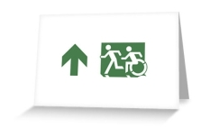 Accessible Exit Sign Project Wheelchair Wheelie Running Man Symbol Means of Egress Icon Disability Emergency Evacuation Fire Safety Greeting Card 78