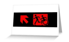 Accessible Exit Sign Project Wheelchair Wheelie Running Man Symbol Means of Egress Icon Disability Emergency Evacuation Fire Safety Greeting Card 82