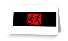 Accessible Exit Sign Project Wheelchair Wheelie Running Man Symbol Means of Egress Icon Disability Emergency Evacuation Fire Safety Greeting Card 85