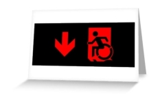 Accessible Exit Sign Project Wheelchair Wheelie Running Man Symbol Means of Egress Icon Disability Emergency Evacuation Fire Safety Greeting Card 86