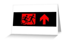 Accessible Exit Sign Project Wheelchair Wheelie Running Man Symbol Means of Egress Icon Disability Emergency Evacuation Fire Safety Greeting Card 90