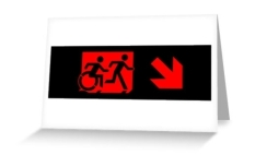 Accessible Exit Sign Project Wheelchair Wheelie Running Man Symbol Means of Egress Icon Disability Emergency Evacuation Fire Safety Greeting Card 91