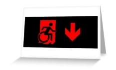 Accessible Exit Sign Project Wheelchair Wheelie Running Man Symbol Means of Egress Icon Disability Emergency Evacuation Fire Safety Greeting Card 92