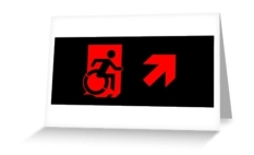 Accessible Exit Sign Project Wheelchair Wheelie Running Man Symbol Means of Egress Icon Disability Emergency Evacuation Fire Safety Greeting Card 95