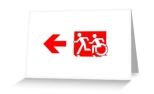 Accessible Exit Sign Project Wheelchair Wheelie Running Man Symbol Means of Egress Icon Disability Emergency Evacuation Fire Safety Greeting Card 96