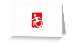 Accessible Exit Sign Project Wheelchair Wheelie Running Man Symbol Means of Egress Icon Disability Emergency Evacuation Fire Safety Greeting Card 98